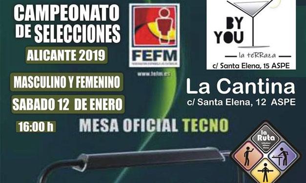 CAMPEONATO DE SELECCIONES ALICANTE 2019 (12(01/19 – ASPE)