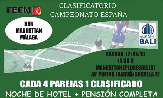 TORNEO CLASIFICATORIO CAMPEONATO DE ESPAÑA (12/01/19 – MÁLAGA)